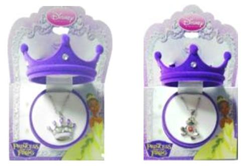The recalled necklaces contain high levels of cadmium. Cadmium is toxic if ingested by young children and can cause adverse health effects.The recalled jewelry is shaped as a metal crown or frog pendant on a metal link chain necklace in a crown hinged box.