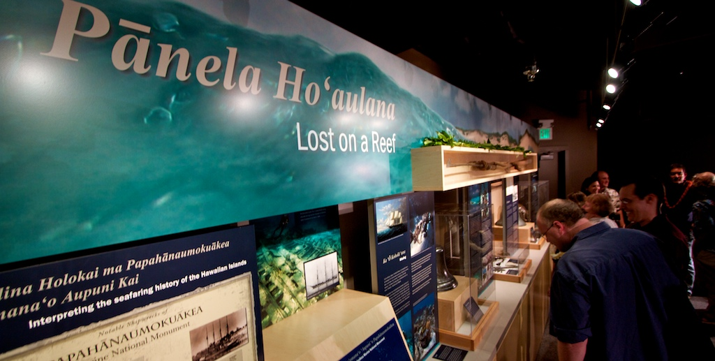 A new NOAA exhibit commemorating the rich maritime heritage of Papahanaumokukuakea Marine National Monument opened Friday at Mokupapapa Discovery Center in Hilo.