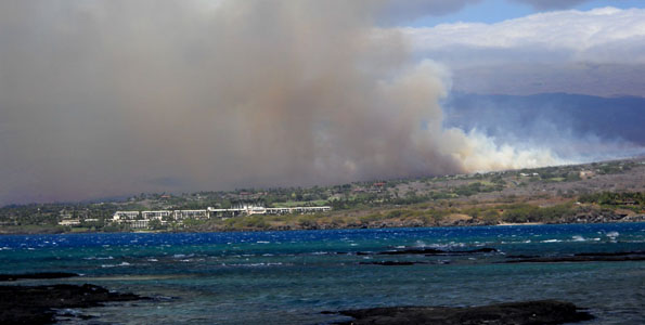 Windy conditions are feeding a brushfire in Kawaihae. The blaze, which started about 1 p.m. Friday, March 12, has scorched 600 acres.