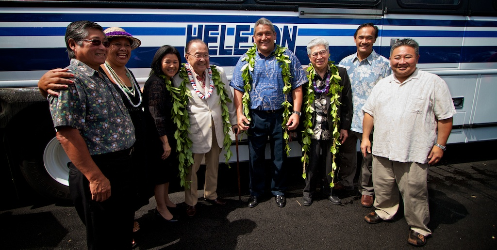 Senators Daniel Inouye and Daniel Akaka were on the Big Island Tuesday (March 30) to attend ceremonies for county projects backed by federal earmarks and American Recovery and Reinvestment Act funds.