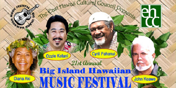 Featuring Ben Kaili, Diana Aki, Ozzie Kotani, Cyril Pahanui, John Keawe and Brittni Paiva at Afook-Chinen Civic Auditorium in Hilo. Honoring Uncle George Naope. Also guitar and ukulele workshops.