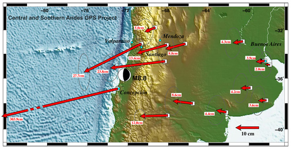 Concepcion shifted 10 feet to the west as Nazca tectonic plate crunched under South American plate