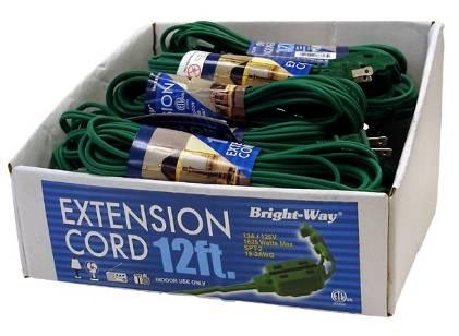 The extension cords and power strips have inadequate coating material around the cords and copper conductors that are smaller than required, posing a fire hazard to consumers. About 12,000 cords have been manufactured.