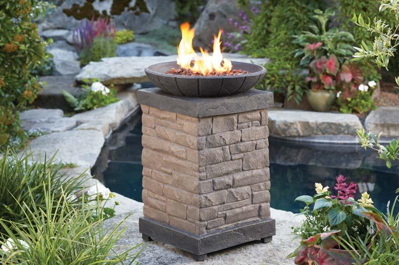 The recalled product is a propane gas fire column used for outdoor ambiance. The base of the column is rectangular with brick styling. The top has a bowl shape with lava rocks. This unit does not include ceramic logs. Gas can leak from connections in the column, posing a fire hazard to consumers.