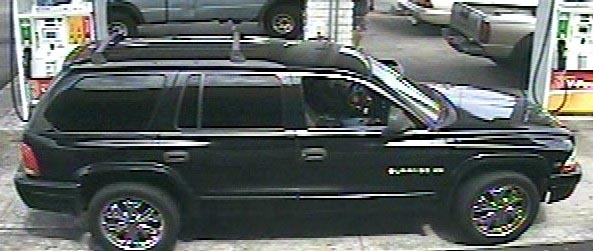 Big Island police are asking for the public's help in identifying three suspects involved in an identity theft case. The suspects used a stolen credit card to purchase various items in Waimea and Hilo. The woman and two men pictured were captured on video. The female suspect was operating the sports-utility vehicle pictured above, which is described as a late-to-mid-1990s black Dodge Durango with chrome rims.