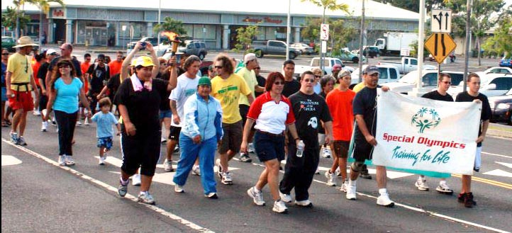 "On Saturday, April 10, the ""Guardians of the Flame"" carried the ""Flame of Hope"" from the Kea'au Police Station to the Kea'au High School sports complex, where they were greeted by athletes representing various Big Island schools as part of the opening ceremonies for the annual games sponsored by the East and West Hawai'i Special Olympics. Roughly 35 people walked or ran in East Hawai'i."