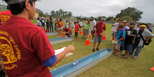 About 200 students competed in the competition using only solar energy and an electric motor to power each boat. Video and results of the competition.