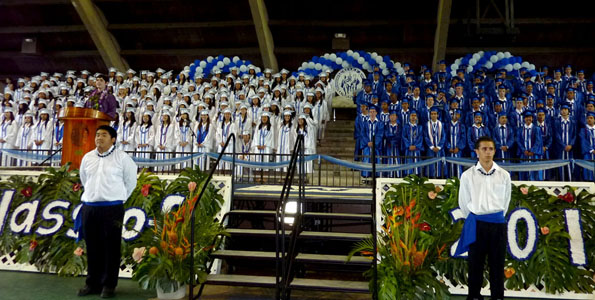 The Waiakea High School commencement exercises at Edith Kanakaole Tennis Stadium Saturday (May 22). Photos of the ceremony by Barbara Cooper | Special to Hawaii 24/7.