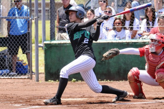Kozy Toriano, starting center fielder on the HPU softball team, hitting against UH-Hilo earlier in the year.