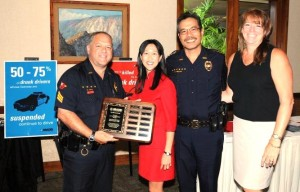 Sgt. Christopher Gali, MADD Executive Director Jennifer Dotson, Police Chief Harry Kubojiri and, from MADD's Hilo Office, Lisa Onorato.