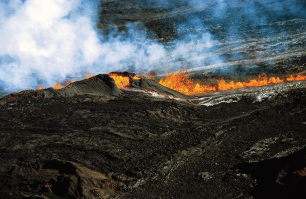 Shortly before midnight July 5, 1975, a hiker sleeping in Puuulaula Cabin on the northeast flank of Mauna Loa awoke and saw a faint red glow