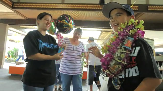 Arriving home to a hero's welcome Tuesday (Aug 3) Shaedon Quevedo, 12 years-old, won two medals at the 3rd Annual World International Brazilian Jiu Jitsu Championships in Riverside, California.