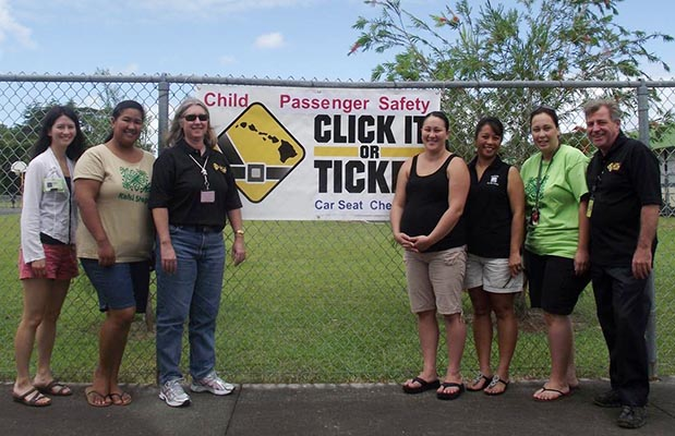 The Hawai'i Police Department's Traffic Services Section organized a car seat check-up during the Click It or Ticket Basketball Tournament at the Kawananakoa Sports Complex in Keaukaha on Saturday (August 14). This was to supplement the Hawaii Isle Police Activities League's efforts to promote passenger safety with a special Child Passenger Safety event.
