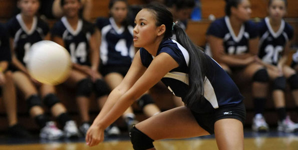 In BIIF Girls volleyball at the Waiakea High Gym, the host Waiakea Warriors defeated the Hilo Vikings in three straight sets.