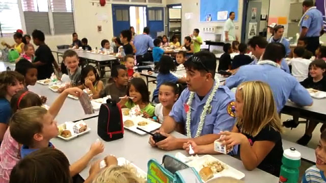 Firefighters from the Waikoloa Fire Station were invited to lunch at Waikoloa School Friday (Sept 10) in honor of Patriot Day (Sept 11).