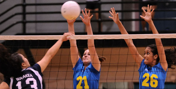 In BIIF girl's volleyball at the Hilo Armory Friday (Sept 24) the Waiakea Warriors defeated the host Hilo Vikings in straight sets, 25-21, 25-15, 25-18. In the earlier JV game Hilo defeated Waiakea, 25-23, 25-21.