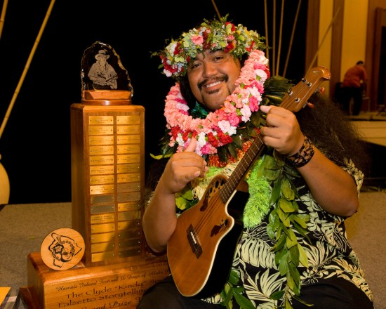 "Devin Kahale Alii Keanaaina won the 19th Annual Clyde ""Kindy"" Sproat Falsetto Storytellng Contest at the Waikoloa Beach Marriott Friday. Photography by Michael Darden 