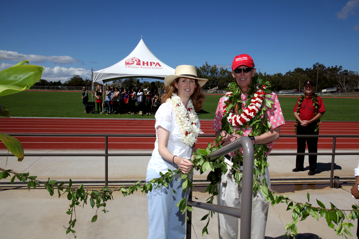 Hawaii Preparatory Academy dedicated the new Stanford W. Shutes Track on Monday, September 13.  Lower, Middle, Upper School students and special guests, including the track's namesake and many of his former students, gathered for the ceremony officiated by Father Guy Piltz.