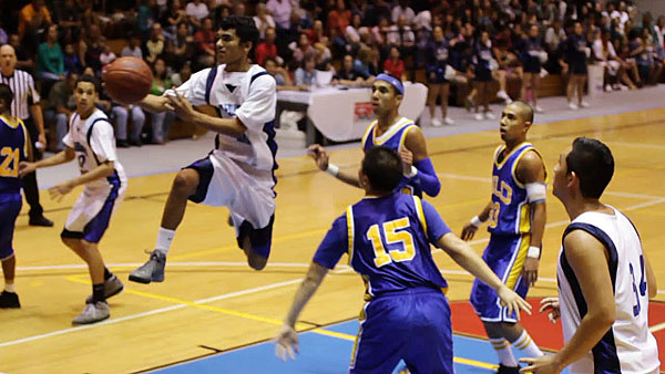 The Kamehameha-Hawaii Warriors beat the Hilo Vikings in a BIIF boys basketball championship showdown 59-41 Saturday (Feb 12) in Hilo.