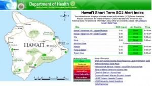 Hawai'i Short Term SO2 Alert Index website