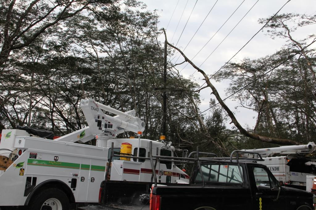 Hawaii Electric Light Company (HELCO) management employees faced several weather-related challenges as rains hit the island over the weekend.  On Saturday, a lightning strike in Ocean View Estates damaged a transformer. Employees replaced the transformer and restored power by 7:30p.m. A handful of customers were affected.