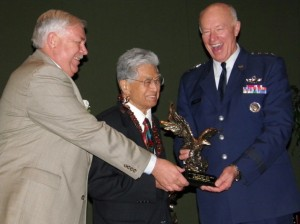 "Senator Daniel K. Akaka, center, receives the G. V. ""Sonny"" Montgomery Eagle Award from Roger Hagan (left), Pres. of the Enlisted Assoc. of the National Guard and Lt. Gen. Harry M. Wyatt III, Dir. of the U.S. Air National Guard. Photo courtesy of office of Sen. Akaka"