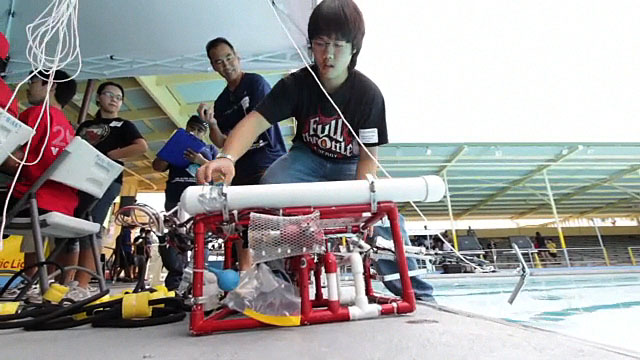 The Hilo Waiakea Alliance were the overall winners in the underwater robotics competition and qualify for the international competition. Video and results of the event.