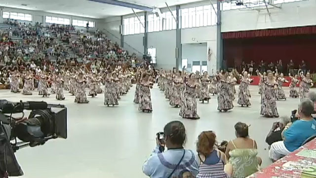 The 48th Annual Merrie Monarch Festival kicked-off Sunday (April 24) with a Hoolaulea featuring music and hula at the Afook-Chinen Civic Auditorium in Hilo.