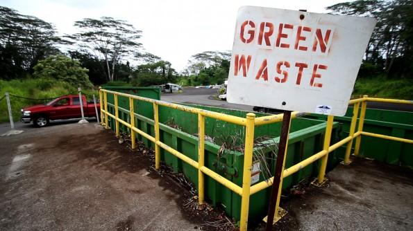 Green waste bins at the Keaau Transfer Station in Puna. Photos by Baron Sekiya   Hawaii 24/7