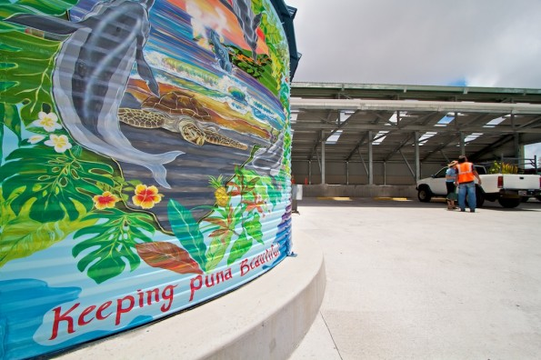 A mural painted by artist Charlene Lofgreen on the side of the water tank at the renovated Pahoa Transfer Station. Photo by Baron Sekiya | Hawaii 24/7