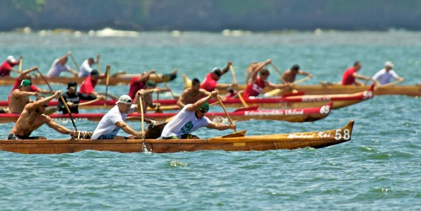 The Men's Sophomore one-mile race in Hilo Bay Saturday (June 18) at the Kailana Canoe Club regatta.