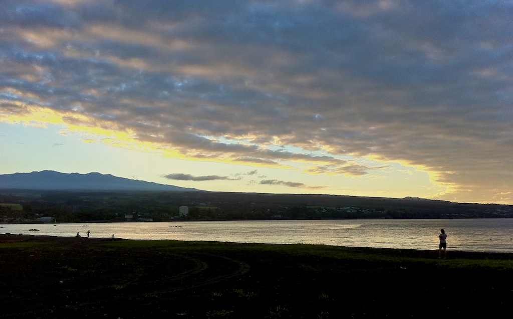 Just another end to the day in Hilo with the bay and Mauna Kea.