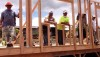 First wall up goes up at the Case-Kawaauhau home in Kawaihae on Hawaiian Home Lands. (Photo courtesy of Habitat for Humanity)
