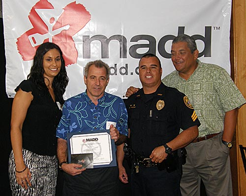 Mothers Against Drunk Driving honored eight Big Island police officers Thursday (June 9) for their efforts in arresting motorists for driving under the influence of drugs and alcohol.  At a luncheon ceremony at Encore restaurant in Hilo, sponsored by Big Island Toyota, certificates of appreciation were handed out to officers.