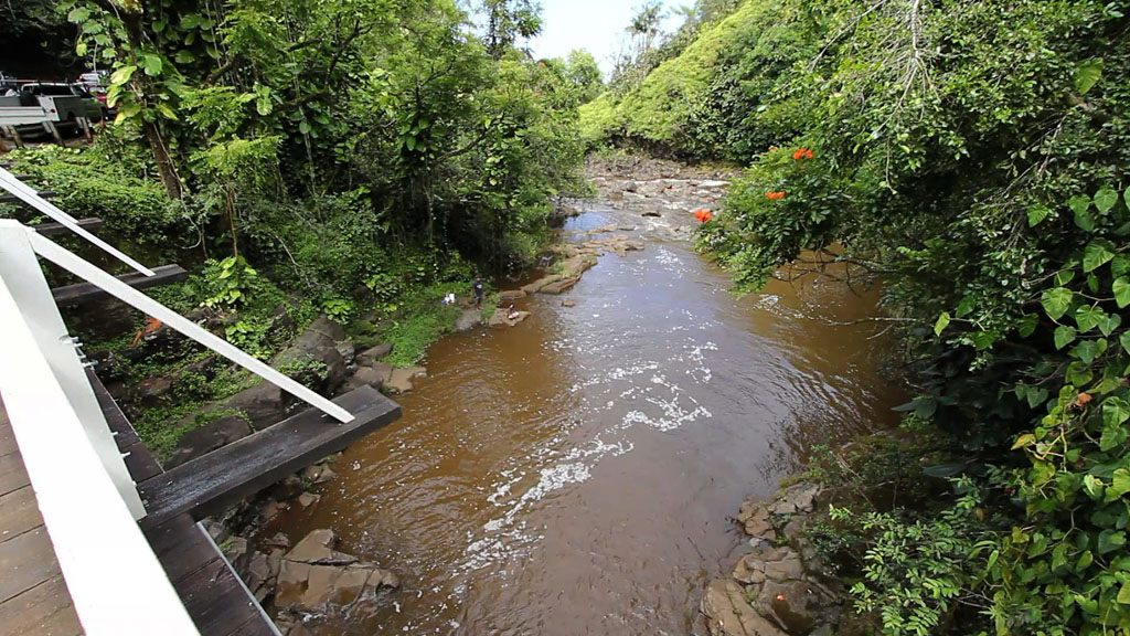 Search operations were suspended Tuesday evening for Ernesto Combes of Nanawale Estates, who was swept away in Kawainui Stream Sunday (July 10) by a flash flood.