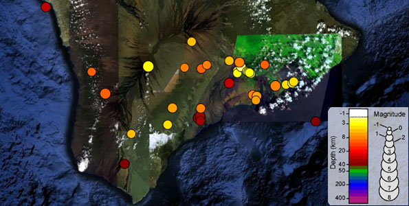 Seismic activity on the Big Island. Click on image to open in Google Earth application.