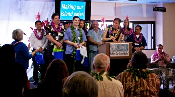 The Level III trama team at Hilo Medical Center is introduced by host Kat from KWXX radio.