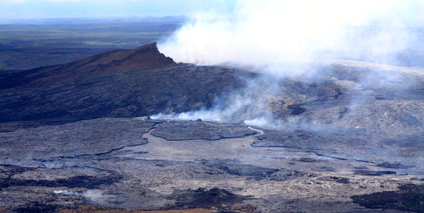On August 3, just after 2:00 p.m., HST, the floor of Pu'u 'Ō 'ō collapsed and lava began erupting from new vents on the west flank of Pu'u 'Ō 'ō cone, sending flows towards the north and south of the cone.