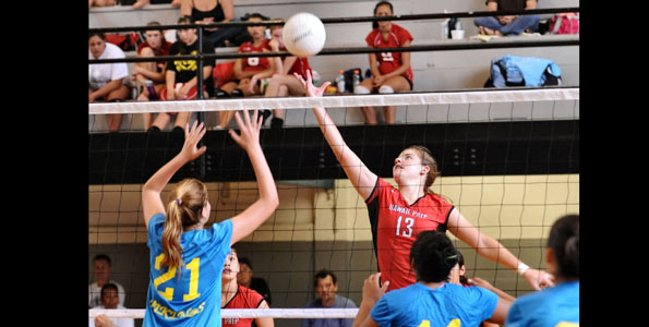 Photo of Hilo High School's pre-season girls volleyball tournament at the Hilo Armory