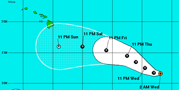 As of 11 p.m. HST the center of Tropical Storm Fernanda was located about 1,350 miles East-Southeast of South Point. The National Hurricane Center models show that the storm will not become a hurricane.