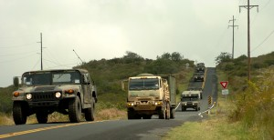 A convoy of vehicles from 209th Aviation Support Battalion, 25th Combat Aviation Brigade is driven over Saddle Road. Photo by Sgt. Bryanna Poulin 25th CAB Public Affairs