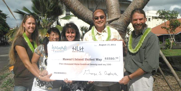 Big Island Visitors Bureau, Hawaiian Legacy Hardwoods present Hawaii Island United Way with donation