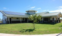 North Kohala Public Library's photovoltaic energy system panels can be seen on the left side of the roof. Photo courtesy of HSPLS.