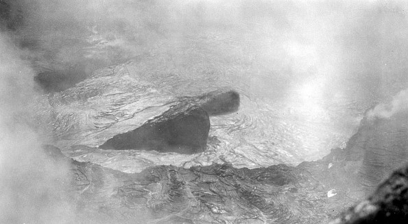 """The great inflated cylinder of black glass which formed over the sunken island, Aug. 18, 1911"" (Frank Perret)."