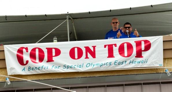 Cop On Top at the Hilo Walmart raising money for Special Olympics East Hawaii. Photos by Baron Sekiya | Hawaii 24/7