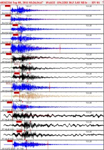 Waveforms for quake off Kapoho Thursday (Sept 8, 2011)