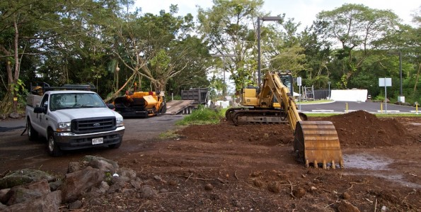 Equipment at the entrance of the Keaau Transfer Station prepares for work near the water spigot facility. Photo by Baron Sekiya | Hawaii 24/7