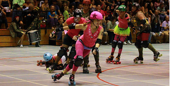 In a toy-themed, inter-league bout, the G.I. Janes ambushed the Barbies 141-99 at the Hilo Civic Auditorium.