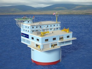 Artistʻs concept of OTI's offshore plant proposed for Oahu, Hawaii.