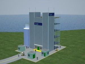 Artist's conception of OTI's planned NELHA demonstration plant on Hawaii Island.